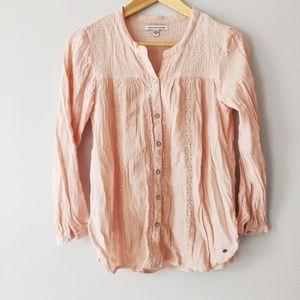 American Eagle Soft Pink Cotton Blend Blouse